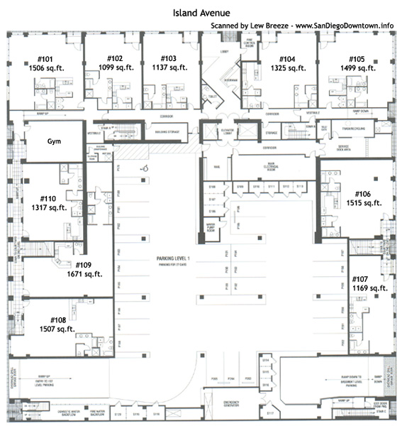 Downtown san diego condos floor plans for Different floor plans